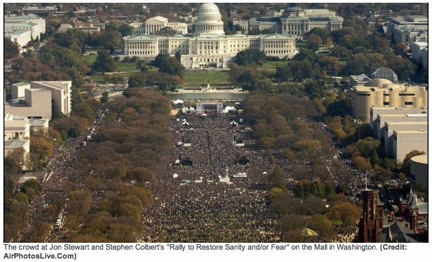 Photo of crowd at rally taken from the air