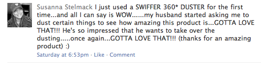 Facebook comment posted on Swiffer wall