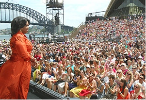Oprah in front of a crowd in Australia