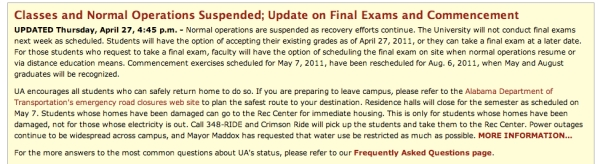 University of Alabama Weather Info page
