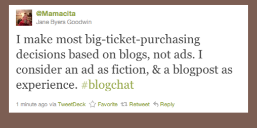 Actual tweet saying advertising is fiction and blogs are experience