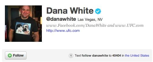 Dana White's Twitter Page Snapshot