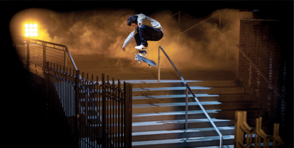 Nike photo of ad with Paul Rodriguez skating down steps