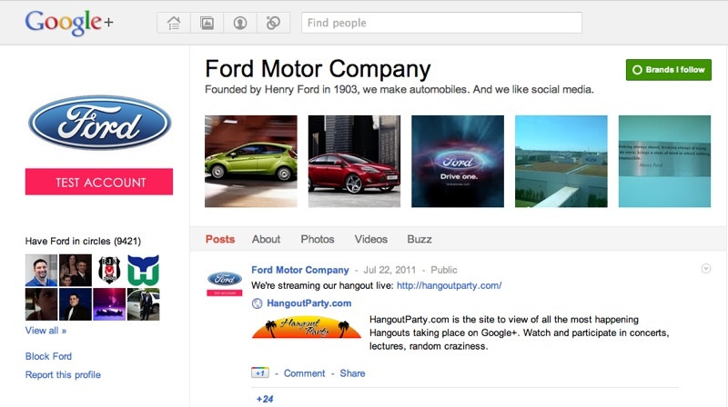 Screenshot of Ford Motor Company's Google+ page