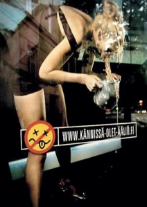 Photo of woman puking, Finnish ad campaign