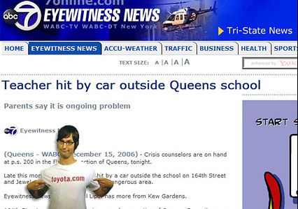 Story about teacher hit by car with Toyota ad pop-up