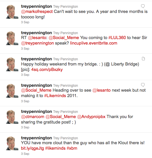 Piece of Trey's Twitter stream from Sept 3