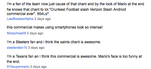 Comments from Verizon Wireless YouTube site