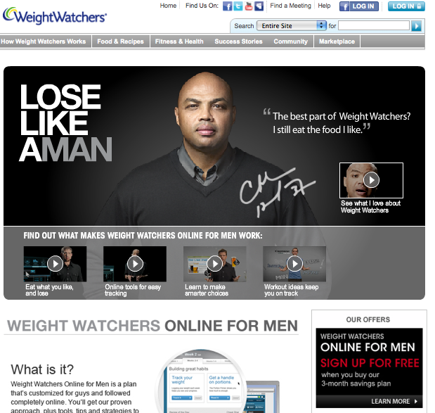 Snapshot of Weight Watchers for Men website