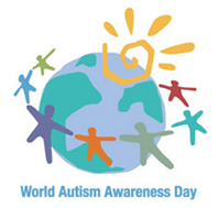 World Autism Awareness Day design. World with sun and people holding hands around it.