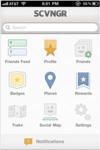 Screenshot of SCVNGR menu on iPhone