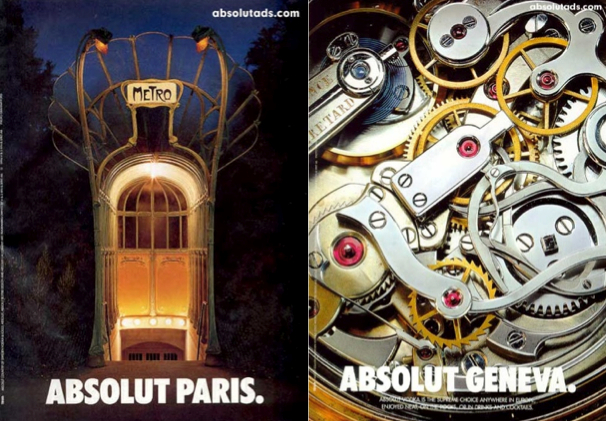 Print ads showing Absolut bottle shape in a Paris Metro entrance and the insides of a Geneva timepiece