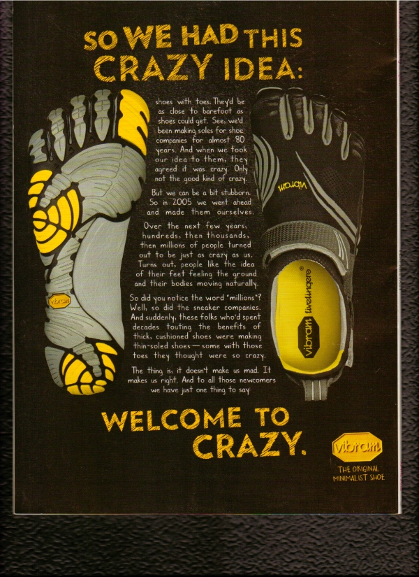 Vibram print ad telling story of how barefoot shoes came about