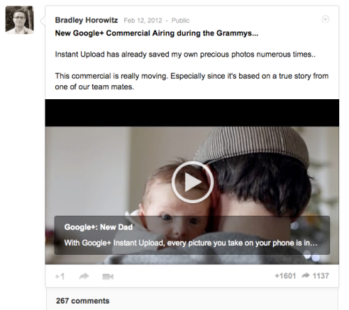 Snapshot of Google+ post from Bradley Horowitz showing stats listed above