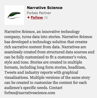 Narrative Science disclaimer from Forbes article