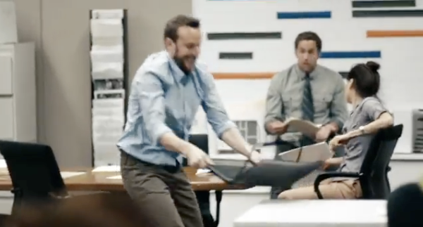 """Worker man smashing laptop, concept didn't work, goes with script """"hate it"""""""