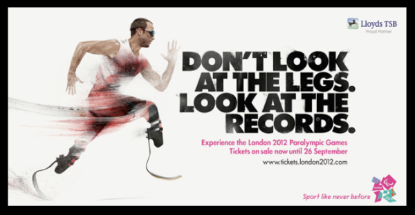 Oscar Pistorius running, headline: Don't Look at the Legs, Look at the Records