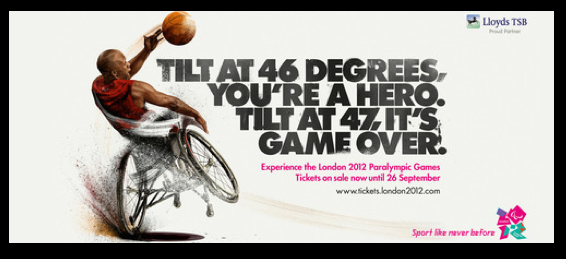 Wheelchair athlete playing basketball: Tilt at 46 Degrees You're a Hero. Tilt at 47, It's Game Over