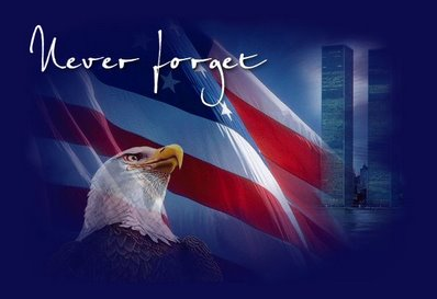 Never forget: A flag, bald eagle and twin towers