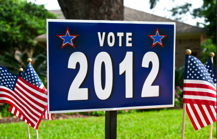 Sign on front yard saying Vote 2012