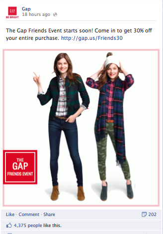 Gap Friends promotion on Facebook
