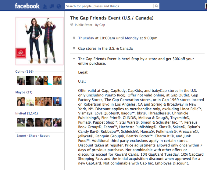 Gap Friends promotion page