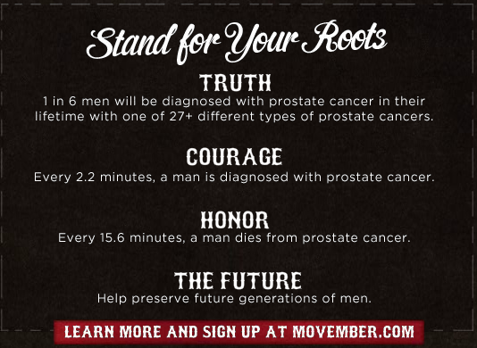Movember men's health stats from Tom's Shoes website
