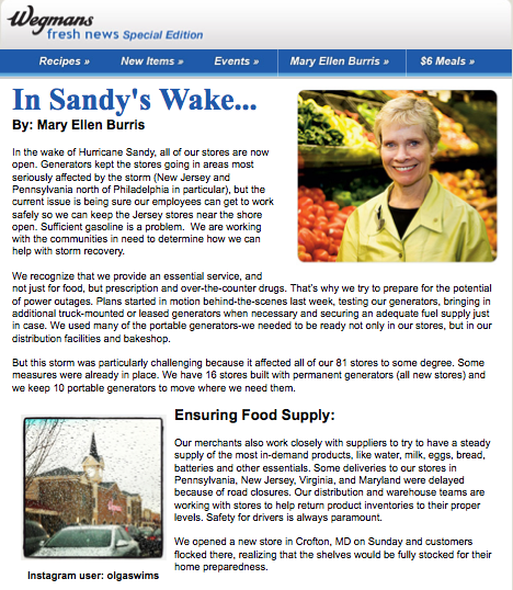 Wegman's Email: In Hurricane Sandy's Wake