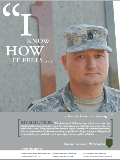 Poster with soldier talking about asking for help