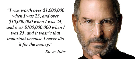 Photo of Steve Jobs with quote