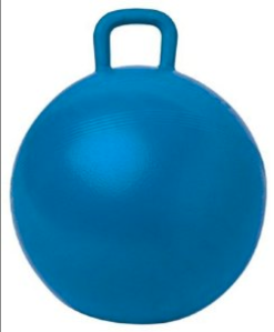 Ball with handles that kids sit on and bounce